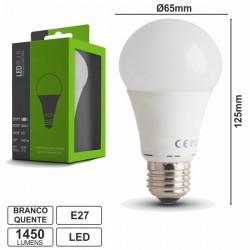 Lâmpada LED E27 Globo 230V 18W Leds Smd 2835 Branco Quente