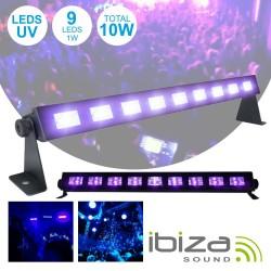 Barra LEDs Uv c/ 9 Leds Uv 1W E Suporte Ibiza