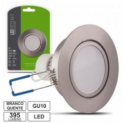 Lâmpada LED c/ Suporte Redondo Cinza 220V 5W Branco Quente 395Lm