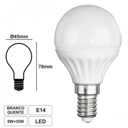 Lâmpada LED E14 230V 5W Leds Smd Branco Quente