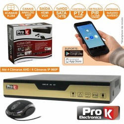 Vídeo-Gravador Digital 4 Canais Ahd Quad Ethernet Prok