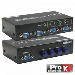 Distribuidor Comutador Vga 4 Entradas 1 Saída c/Audio Prok