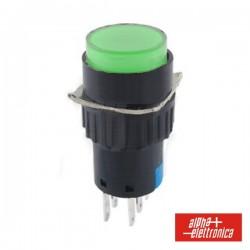 Comutador Pulsador Redondo 230V 2 Na 2 Nf Verde Bipolar