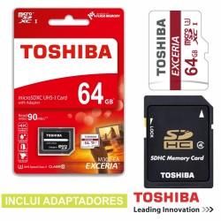 Cartão de Memória Micro Sd 64Gb C10 c/Adaptadores Toshiba