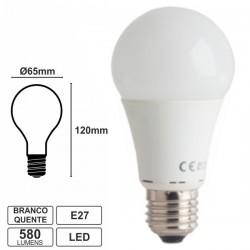 Lâmpada LED E27 Globo 230V 7W 8 Leds Smd 3528 Branco Quente