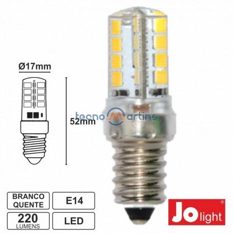 L mpada led e14 24v 3w 32 leds branco quente 220 lm for Lampada led e14