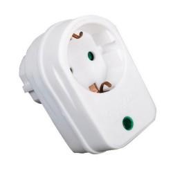 Tomada Eléctrica 1 Saídas Schuko c/ Protecção Branca