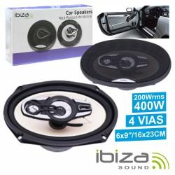 "Conjunto 2 Colunas Auto 4 Vias 400W 6X9"" Ibiza"
