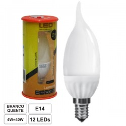 Lâmpada LED E14 230V 4W 12 Leds Chama Branco Quente