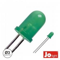 Led 3mm Alto Brilho Verde Difuso Jolight