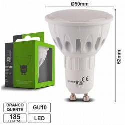 Lâmpada Gu10 2W 230V Leds Smd 2835 Branco Quente 185Lm
