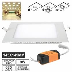 Painel Leds Quadrado 9W 145mm Branco Frio 650Lm