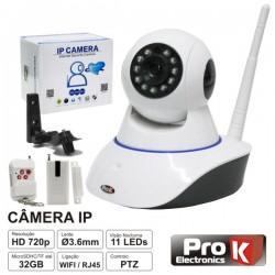 Câmara Vigilância Ip 720P S/ Fios Wi-Fi Rotativa Alarme Prok