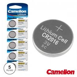 Pilha Lithium Botão Cr2016 3V 75Ma 5X Blister Camelion