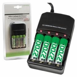 Carregador de Baterias Ni-Cd/Ni-Mh AA/AAA c/4 Baterias 2700