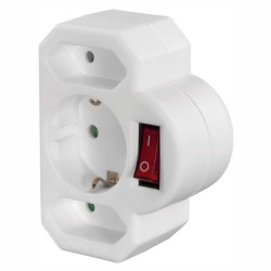 Ficha Eléctrica Tripla 2 Saídas Euro 1 Schuko Interruptor