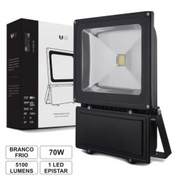 Projector Led 70W 100-265V Branco Frio 5100Lm Ip65 Eco Preto