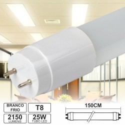 Lâmpada LED Tubular T8 25W 150cm Branco Frio 2150Lm