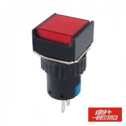 Comutador Pulsador Quadrado 230V 1 Na 1 Nf Vermelho Unipol