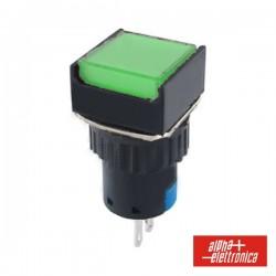 Comutador Pulsador Quadrado 230V 1 Na 1 Nf Verde Unipolar