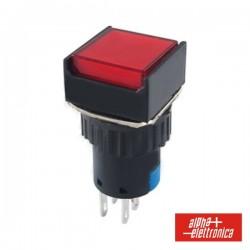 Comutador Pulsador Quadrado 230V 2 Na 2 Nf Vermelho Bipol