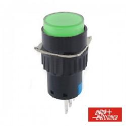 Comutador Pulsador Redondo 230V 1 Na 1 Nf Verde Unipola