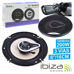 "Conjunto 2 Colunas Auto 3 Vias 200W 6"" Ibiza"