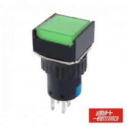 Comutador Pulsador Quadrado 230V 2 Na 2 Nf Verde Bipolar