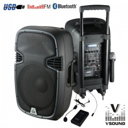 "Coluna Amplificada 12"" 400W Usb/Bt/Sd/Bat Vhf Vsound"