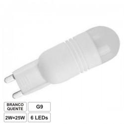 Lâmpada G9 2W 230V 6 Leds Smd Branco Quente