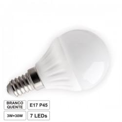 Lâmpada E14 3W 230V Leds Smd 3014 Globo Branco Quente 330Lm