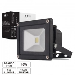 Projector Led 10W 100-265V Branco Frio 650Lm Ip65 Eco Preto