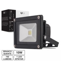 Projector Led 10W 100-265V Branco Quente 740Lm Ip65 Eco Preto