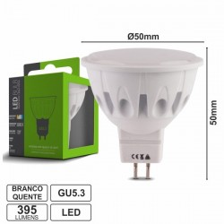 Lâmpada LED Gu5.3 12V 5W Leds Smd 2835 Branco Quente 395Lm