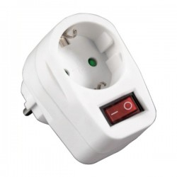 Tomada Eléctrica c/ 1 Saída Interruptor Branco