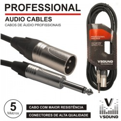 Cabo Pro Xlr 3P Macho / Jack 6.35mm Macho Mn 5M Vsound
