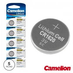 Pilha Lithium Botão Cr1620 3V 70Ma 5X Blister Camelion