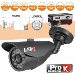 "Camara Vigilância cmos Cores 800L 1/3"" Ip66 Prok"
