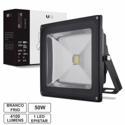 Projector Led 50W 100-265V Branco Frio 4100Lm Ip65 Eco Preto