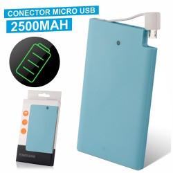 Power Bank Slim Azul 2500Ma c/ Micro Usb Incorporado