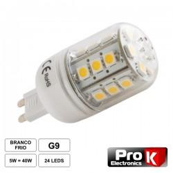 Lâmpada G9 5W 12V 24 Leds Smd 5050 Branco Frio