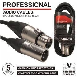 Cabo Pro Xlr 3P Macho / Xlr 3P Fêmea 5M Vsound
