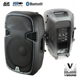 "Coluna Amplificada 15"" 600W Usb/Sd/Bluetooth Vsound"