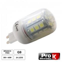 Lâmpada G9 5W 12V 24 Leds Smd 5050 Branco Quente