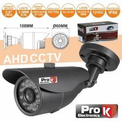 """Camara Vigilância Ahd cmos 1Mp Cores 1000L 1/4"""" Ip66 Prok"""
