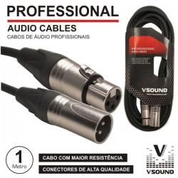 Cabo Pro Xlr 3P Macho / Xlr 3P Fêmea 1M Vsound