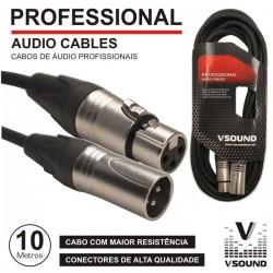 Cabo Pro Xlr 3P Macho / Xlr 3P Fêmea 10M Vsound