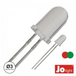 Led 3mm Multicor Vermelho E Verde Difuso Jolight