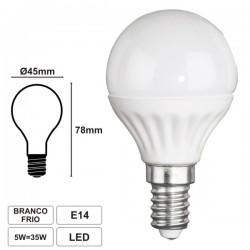 Lâmpada LED E14 230V 5W Leds Smd Branco Frio