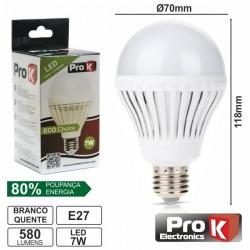 Lâmpada E27 7W 230V 24 Leds Globo Branco Quente 580Lm Prok